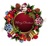 Christmas wreath background. Gift snowman  pinecone berry bow  leaf  wreath Stock Photo
