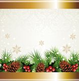 Christmas wreath background. With pine cone and holly Stock Photo