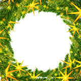 Christmas wreath background. Christmas wreath with stars background template. Design for cover, greeting card, invitations printings, brochure or flyer. Vector Royalty Free Stock Images