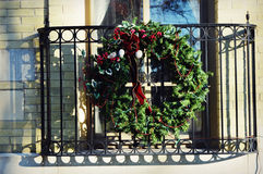 Christmas Wreath on Balcony royalty free stock photo
