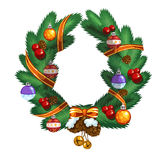 Christmas wreath with ball, pinecone and ribbon Stock Images