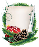 Christmas wreath with  ball and sheet of paper Royalty Free Stock Photos