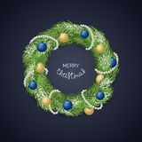 Christmas wreath with balls and garland. Vector Stock Photography