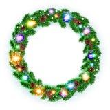 Christmas Wreath, balls isolated. white background. snow. light vector. Art Royalty Free Stock Photos