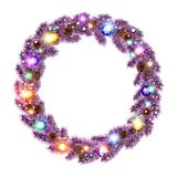 Christmas Wreath, balls isolated. white background. snow. light vector. Art Royalty Free Stock Photography