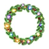 Christmas Wreath, balls isolated. white background. snow. light vector. Art Royalty Free Stock Photo
