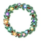 Christmas Wreath, balls isolated. white background. snow. light vector. Art Stock Images