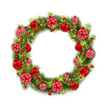 Christmas Wreath with Balls, New Year and Christmas Decoration. Illustration Christmas Wreath with Balls, New Year and Christmas Decoration, on White Background Stock Image