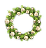 Christmas Wreath with Balls, New Year and. Illustration Christmas Wreath with Balls, New Year and Christmas Decoration,  on White Background - Vector Stock Photos