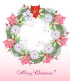 Christmas Wreath with Balls and Poinsettia Royalty Free Stock Photos