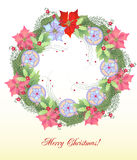 Christmas Wreath with Balls and Poinsettia Stock Photo