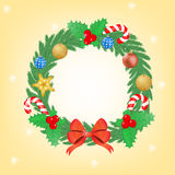 Christmas wreath with balls and sticks. Stock Photography