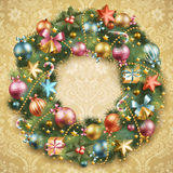 Christmas wreath with baubles. And christmas tree. Vector illustration vector illustration