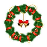 Christmas wreath with baubles and christmas bell. Stock Photo