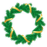 Christmas wreath with baubles and christmas tree Stock Images