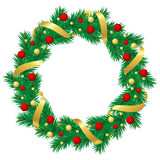 Christmas wreath with baubles and christmas tree Royalty Free Stock Image