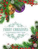 Christmas wreath with baubles Stock Photography