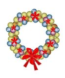 Christmas Wreath of Baubles and Red Bows Stock Images
