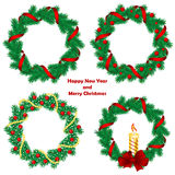 Christmas wreath with baubles and  tree. Royalty Free Stock Photography