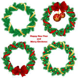 Christmas wreath with baubles and  tree. Stock Images