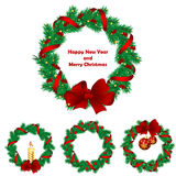 Christmas wreath with baubles and  tree. Royalty Free Stock Photo