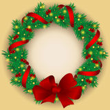 Christmas wreath with baubles and tree. Stock Photography
