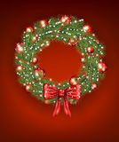 Christmas Wreath with Baubles Stock Images