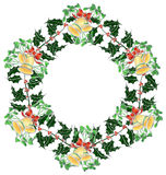 Christmas wreath with bells Royalty Free Stock Images