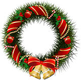 Christmas wreath with bells. And berries Stock Photo