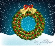 Christmas wreath with bells Royalty Free Stock Photography
