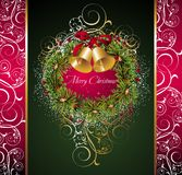 Christmas wreath with bells. Wreath bell floral ribbon berry holly tree new Royalty Free Stock Photos