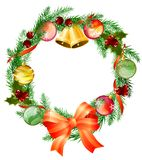 Christmas wreath with bells Stock Images