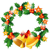Christmas wreath with bells vector illustration