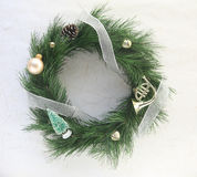 Christmas wreath with bells and ornaments Stock Photo