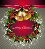 Christmas wreath with bells and pinecone Stock Image