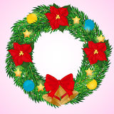 Christmas Wreath with bells, poinsettia flowers and balls. Simple cartoon style. Vector illustration. NY Collection. Royalty Free Stock Photos