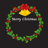 Christmas Wreath With Bells And Red Ribbon Stock Images