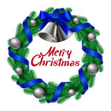 Christmas wreath with bells ribbons and balls Royalty Free Stock Images