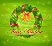 Christmas wreath and bells & text Royalty Free Stock Image
