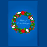 Christmas Wreath with Berries and Decorations Stock Photography