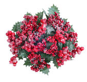 Christmas wreath with berries isolated Stock Photos