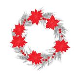 Christmas wreath with berries and poinsettia. Vector illustration stock illustration