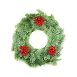 Christmas Wreath with Berries on White Royalty Free Stock Images