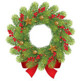 Christmas wreath with berry and red bow Stock Images