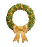Christmas wreath with big golden bow Stock Photos