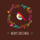 Christmas wreath with bird, Greeting card Royalty Free Stock Images
