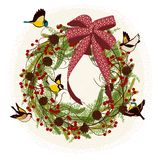 Christmas wreath with birds stock illustration