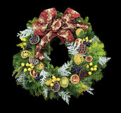 Christmas wreath on black Stock Photography