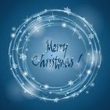 Christmas wreath on a blue background. Snowstorm. Vector illustr Stock Photography