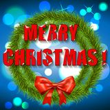 Christmas wreath with blue background. Vector Royalty Free Stock Photo